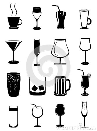Free Drink Glasses Icons Set Stock Image - 50030931