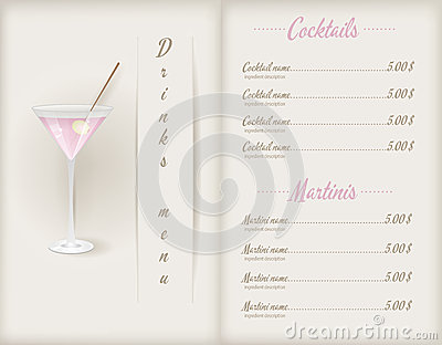 Drink Menu Template Vector Image 57564757 – Drinks Menu Template