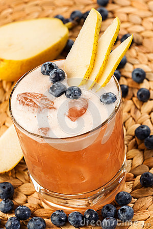 Drink with pear and blueberry