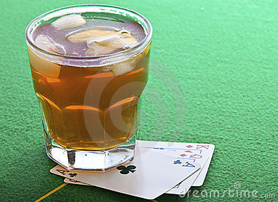 Drink on poker table