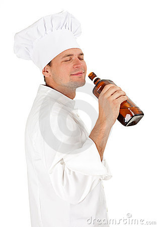 Drinking alcohol chef