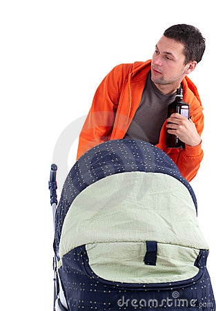 Drinking alcohol young father with baby pram