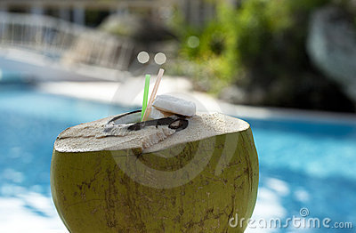 Drinking coconut with straws against swimpool