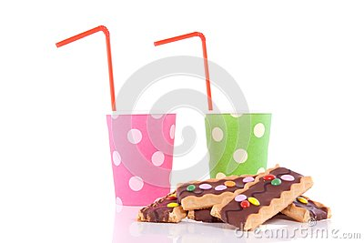Drinking cups with straws