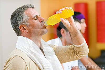 Drinking energy drink at gym