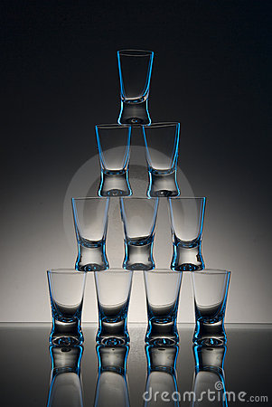Free Drinking Glasses In Pyramid Royalty Free Stock Image - 8205866