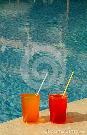 Drinking Glasses By The Pool Royalty Free Stock Photo Image 19837535