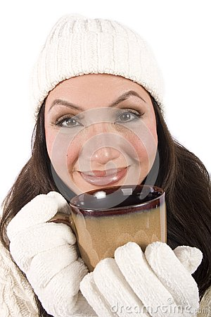 Drinking a hot beverage