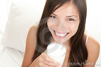 Drinking milk woman