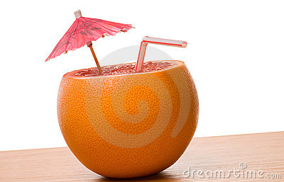 Drinking orange isolated