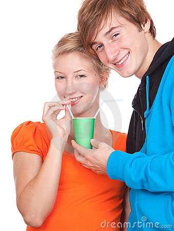 Drinking with straws loving couple