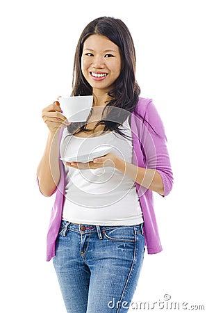 Drinking tea or coffee