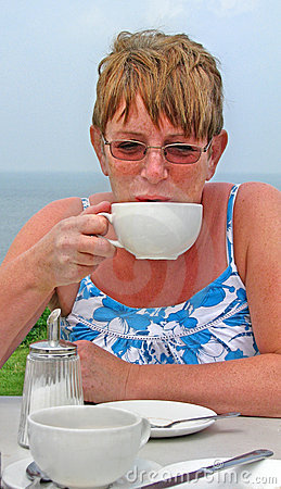 Drinking tea coffee alfresco at beach