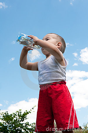 Drinking water little boy