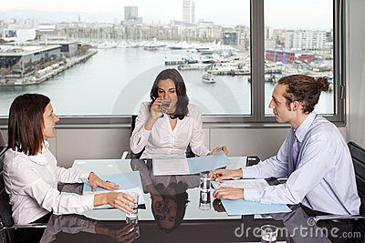 Drinking water during meeting in conference room