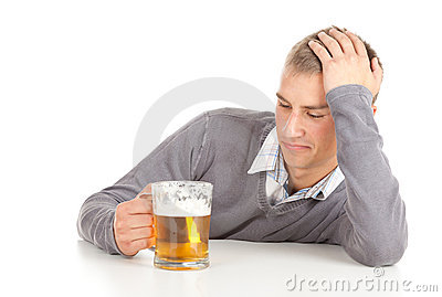 Drinking young guy with beer