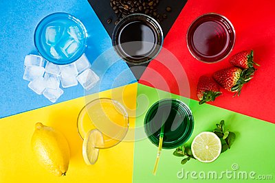 Drinks arranged as five Olympic rings