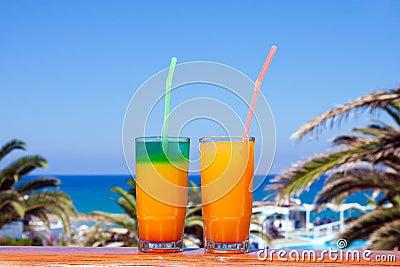 Drinks on a beach