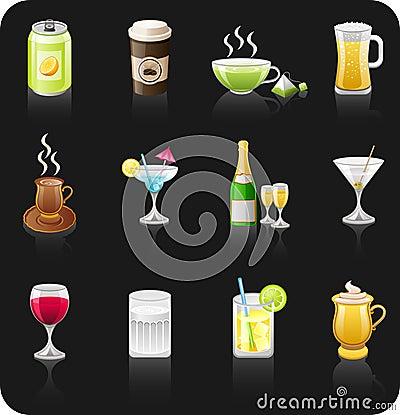 Drinks black icon set.
