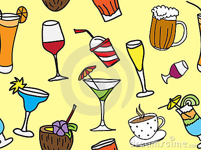 Drinks and coctail seamless background
