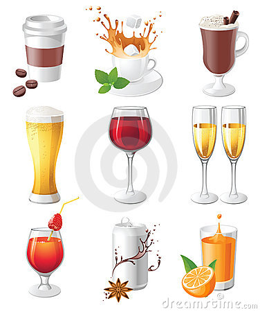 Free Drinks Icons Royalty Free Stock Images - 22552249