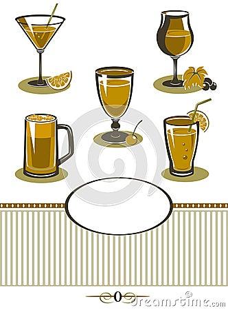 Drinks icons set orange menu