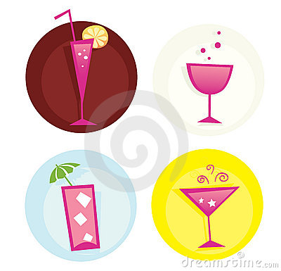 Drinks iconset. Mix of summer hot drinks. VECTOR.