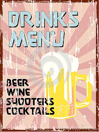 Drinks menu,