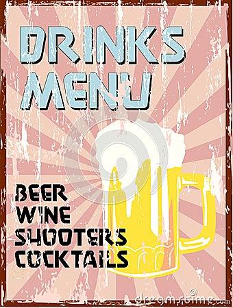 Drinks menu,