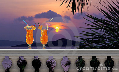 Drinks on a Tropical Balcony