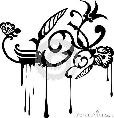 Dripping Grunge Flowers