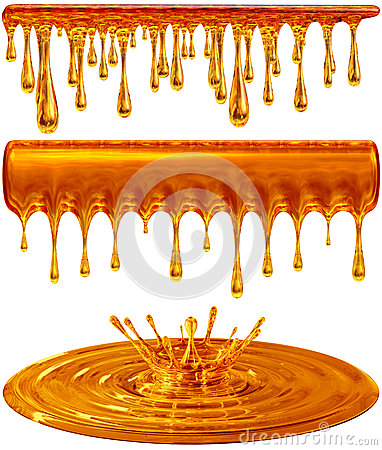 Dripping and splash golden honey or caramel