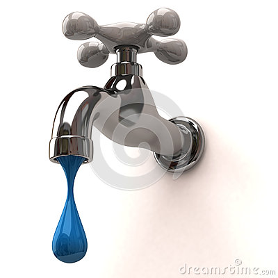 Dripping tap with blue drop