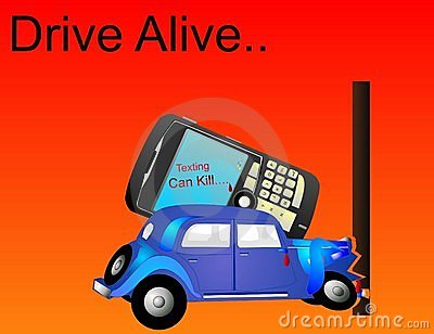 Drive Alive, as Texting can Kill, illustration..