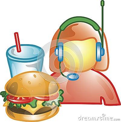 Drive thru food operator Icon