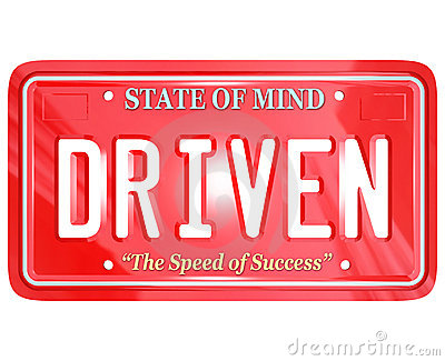 Driven Word on Red License Plate