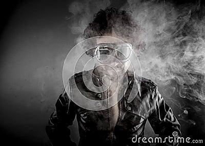 Driver, biker with sunglasses era dressed Leather jacket, huge s