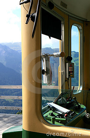Driver cab of a Swiss cogwheel train