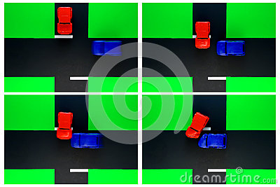 Driver Ed Toy Car Crash of Stop Sign Road Accident