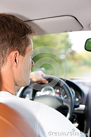 Driver in his car or van