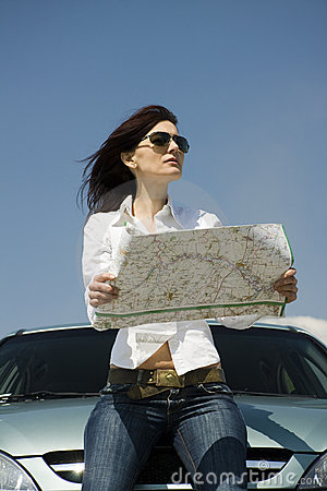 Driver with a map