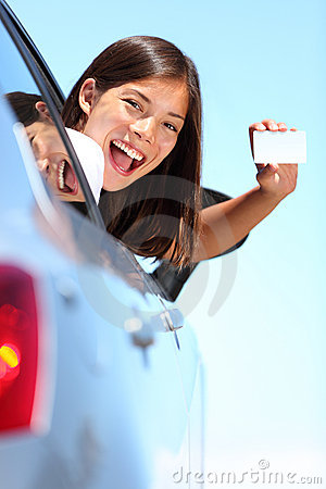Drivers license car woman