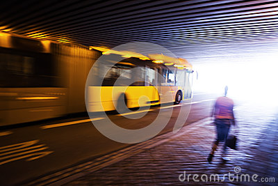 Driving bus under a bridge