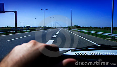 Driving car on highway
