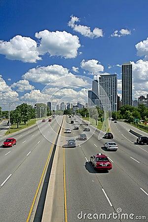 Driving through Chicago