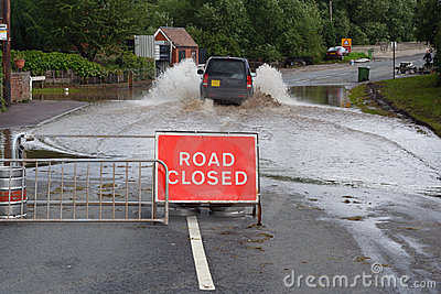 Driving through flood Editorial Stock Photo