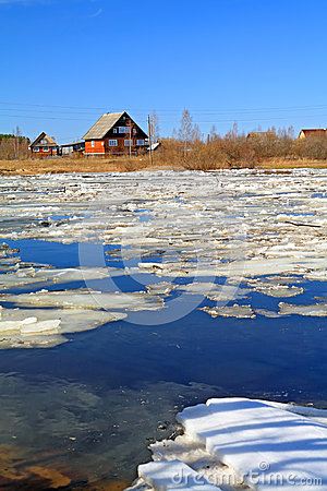 Driving of ice on river