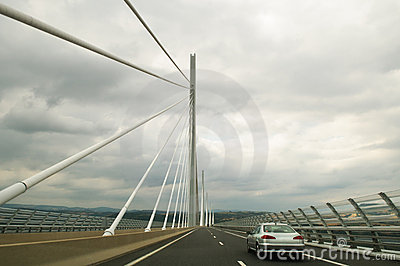 Driving the Millau Viaduct Editorial Stock Image