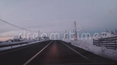 Driving on a mountain road stock footage