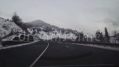 Driving on a mountain road stock video